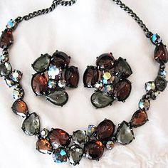 Rare Elsa Schiaparelli Necklace & Earrings Set Amber Smokey Grey & AB