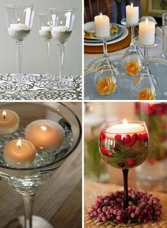 60 New Uses For Everyday Items Turn simple candles into a beautiful display using wine glasses. They make easy but charming centerpieces for formal affairs such as weddings, dinner parties or anniversaries. Everyday Items, Everyday Objects, Wine Glass Candle Holder, Candle Holders, Decoration Table, Table Centerpieces, Centrepiece Ideas, Decoration Crafts, New Uses