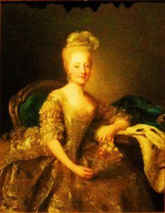 'Koningin Hedwig van Zweden en Noorwegen' door Alexander Roslin uit 1774. De prinses was als 15-jarige het middelpunt van een sprookjeshuwelijk dat in heel Europa de aandacht ving. Hedwig, dochter van het Huis Holstein, was uitgehuwelijkt aan Karel, een broer van koning Gustav III van Zweden. Ze arriveerde in Stockholm in een rijkversierde Venetiaanse gondel èn in de jurk waarin Roslin haar heeft geschilderd. Hedwigs gezichtje en breekbare gestalte sprak voor een vergelijking met een engel.