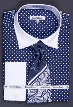 SKU#FCX22 100% Cotton French Cuff Dress Shirt, Tie, Hanky & Cuff Links -Polka Dot Two Tone Navy $65 Mens Dress Shirts Dress Shirts & Ties