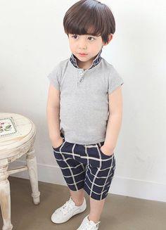 Stylish Polo Collar Short Sleeve T-Shirt + Crop Pants Boy's Twinset
