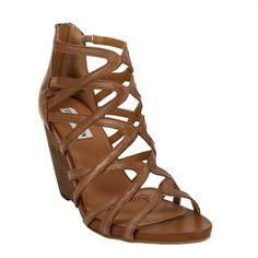 Step Out In Style / Steve Madden Tricklee Strappy Wedge Sandal #VonMaur #SteveMadden #Brown ||