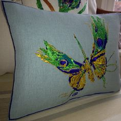 Artistic Embroidery Peacock Butterfly Cushion Throw by LMDSimplyBe, £48.00