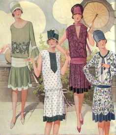 1920 Women's Fashion Ilustration Daily Dress