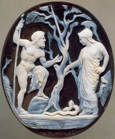 #Athena and # Poseidon . #Cameo . #Sardonyx - #onyx , 1st c. BC. The letters ΠΥ attributed to Pyrgoteles of the late #hellenistic age