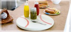 Weekend Project! Baseball-Themed Lazy Susan - This would be great for a cookout or a baseball themed birthday party.