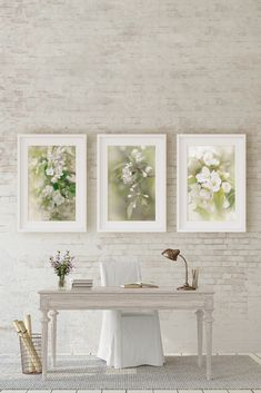 A set of 3 French country sage and cream flower art. These prints work beautifully in a soft pastel home and would be particularly lovely above a desk or sofa. French Country Wall Decor, French Country Bedrooms, French Country Living Room, French Decor, French Country Decorating, Rustic French, Country French, Country Art, Country Farmhouse