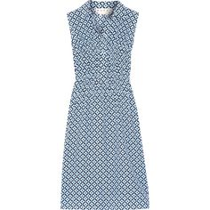 Marni Printed silk crepe de chine dress (5,900 PEN) ❤ liked on Polyvore featuring dresses, blue, blue silk dress, sleeveless dress, print dress, silk print dress and button dress