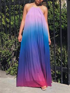 Gradient High-end Chiffon Dress Blue Chiffon Dresses, Halter Maxi Dresses, White Chiffon, Lace Dress, Bare Back Dress, Dress Backs, Everyday Dresses, Casual Dresses For Women, Pretty Dresses