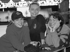 Katarina Witt, Gaby Seyfert und Anett Rauschenbach-Pötzsch (von links) bei einer Trainingspause.