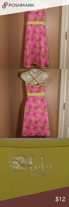 Lola Stretch Active Dress - Size L Awesome active/yoga dress that moves with you!   beautiful, vibrant colors; flattering criss-cross back; built-in shelf bra!  EUC! Lola Dresses Midi