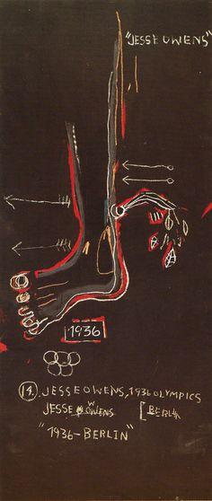 Jean-Michel Basquiat Dark Race Horse—Jesse Owens, 1983 Acrílico y barra de óleo sobre lienzo x cm Collection of the Jean-Michel Basquiat Estate Jean Basquiat, Jean Michel Basquiat Art, Jesse Owens, Andy Warhol, Art Fou, Escher Kunst, Basquiat Paintings, Radiant Child, Neo Expressionism
