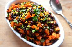 Black beans, sweet potatoes, corn, lime vinaigrette.  Here is another one that looks good :) @Kelly Paulsen
