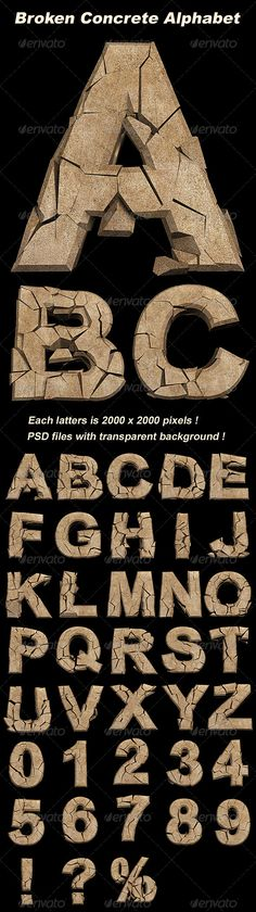 3D Broken Concrete Alphabet  #GraphicRiver         3D rendered Characters including the whole alphabet and Numbers.   Characters: A-Z, 0-9, !, ?, %   Size: Each latters is 2000×2000 pixels   Format: PSD files with transparent background     Created: 23March12 GraphicsFilesIncluded: PhotoshopPSD Layered: Yes MinimumAdobeCSVersion: CS PixelDimensions: 2000x2000 PrintDimensions: 6.6x6.6 Tags: 3d #alphabet #break #broken #character #concrete #crack #letter #logo #number #rendered #stone