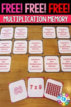 FREE Valentine's Day Math Multiplication Memory Game makes practicing sixes and…