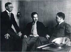 Kandinsky, Gropius and Oud having a smoke in the Director's Room at the Bauhaus in Weimar, 1923