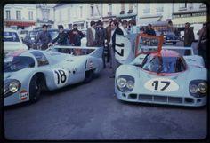 Gulf 917 in front ot the Hotel de France, La Chartre sur le Loir, 1971