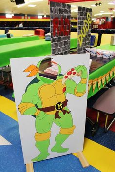 Fun photo prop at a Teenage Mutant Ninja Turtles birthday party! See more party ideas at CatchMyParty.com!