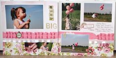 """Wish Big"" scrapbook layout by Jen Shears for May Arts Ribbon, as seen on the Creating Keepsakes editors blog. #scrapbook #scrapbooking #ribbon"