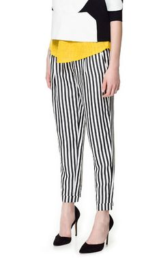 PLEATED STRIPED TROUSERS - Stock clearance - Woman - Sale | ZARA United States