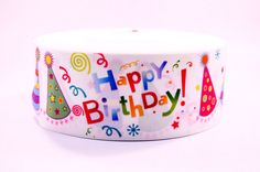 "3"" Wide Happy Birthday Hats Printed Grosgrain Cheer Bow Ribbon"