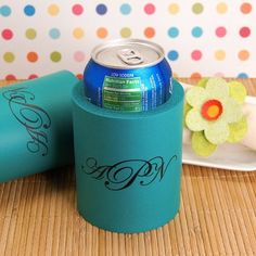 Personalized Wedding Koozie by Beau-coup. A favour that's ACTUALLY useful. :)
