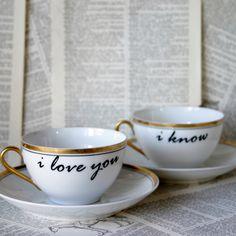 Austria Black I love you I know altered vintage teacup set. Vintage Dishware, Vintage Tea, Nerdy Valentines, Alice Tea Party, I Love You, My Love, Tea Cup Set, Go Shopping, Make And Sell