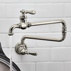 KOHLER 99270-CP Artifacts Single-Hole Wall-Mount Pot Filler Kitchen Sink Faucet with 22-Inch Extended Spout, Polished Chrome - - Amazon.com
