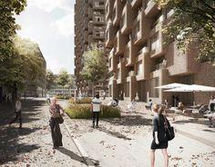 Visualización desde la calle. Norra Tornen, torres de viviendas en Estocolmo por…