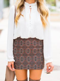Patterned & Pretty: Mini Skirt and Over the Knee Boots. This WHOLE Look can be found at H&M! | Hustle + Halcyon