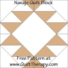 Navajo Quilt Block Free Pattern at Quilt therapy . Quilt Square Patterns, Quilt Patterns Free, Pattern Blocks, Free Pattern, Southwestern Quilts, Le Cloud, Navajo Pattern, Indian Quilt, Star Quilt Blocks