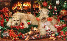 Wheaten Terrier - Fireside Christmas