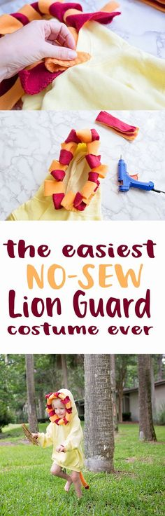 This easy DIY no-sew lion costume is perfect for every day pretend play or Halloween! It's inspired by The Lion Guard - don't forget to tune in to Disney Channel on FRiYAY mornings for new episodes of your favorite Disney Junior shows! #DisneyJuniorFRiYAY AD