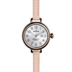The Birdy silver dial watch with blush leather strap showcases a classic dial, elevated design and enduring materials highlighted by a Swiss quality quartz Argonite 775 movement. Rose Gold Top, Leather Watch Bands, Natural Leather, Stainless Steel Case, Silver, Accessories, Shinola Detroit, Color Inspiration, Classic