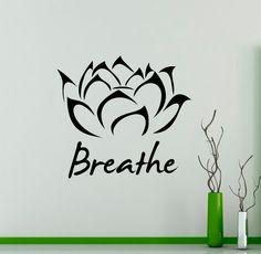 Yoga Inspiration Breathe Wall Vinyl Decal Yoga by USAmadeproducts Yoga Studio Home, Yoga Studio Decor, Inspiration Breathing, Yoga Inspiration, Wall Decals For Bedroom, Vinyl Wall Decals, Wall Stickers Yoga, Decoration Stickers, Yoga Art