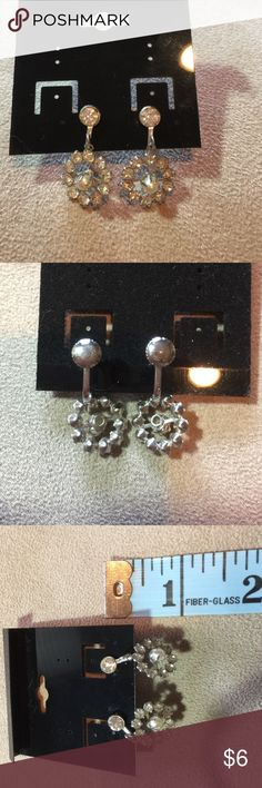 Vintage Rhinestone/ Faux Pearl Screwback Earrings Silver tone hardware . Dangling screwback earrings with a circle of rhinestones and one faux pearl in the center. Jewelry Earrings
