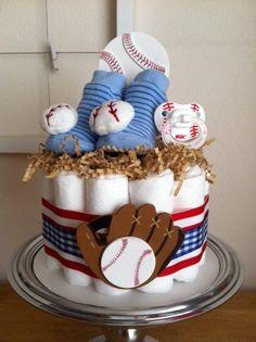Red, White and Blue Baseball Mini Diaper Cake - Baby Boy Shower Gift, Single Tier. $30.00, via Etsy.