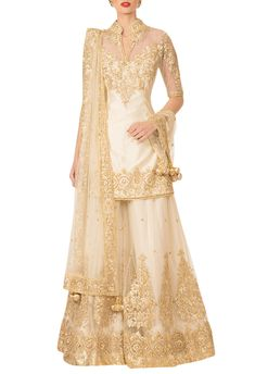 Buy Ivory gota patti sharara set by Preeti S Kapoor at Aza Fashions Pakistani Wedding Outfits, Pakistani Dresses, Indian Dresses, Indian Outfits, Lehenga Wedding, Punjabi Wedding, Indian Sarees, Latest Bridal Dresses, Bridal Outfits