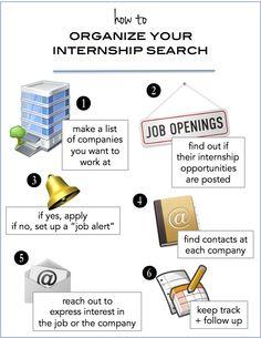 organize your internship search