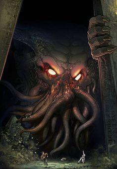 The Call of Cthulhu by Magolobo on DeviantArt Call Of Cthulhu, Art Cthulhu, Cthulhu Tattoo, Lovecraft Cthulhu, Hp Lovecraft, Dark Fantasy Art, Fantasy Artwork, Arte Horror, Horror Art
