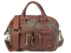 TASCHENDIEB - Leder-Canvas-Mix Damentasche Handtasche Shopper Umhängetasche Schultertasche - 4Farben