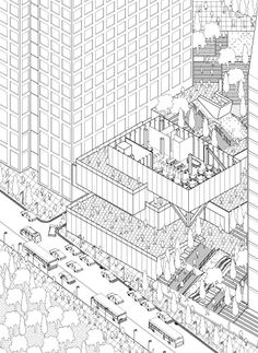 axonometric Axonometric Drawing, Isometric Drawing, Architecture Graphics, Space Architecture, Architecture Presentation Board, Public Space Design, Drawing Expressions, Technical Drawing, Planer