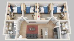 Exquisite Unique 4 Bedroom Apartments Floor Plans Madbury Commons - Home & DIY Sims House Plans, House Layout Plans, House Layouts, House Floor Plans, Dorm Layout, Apartment Layout, Home Design Floor Plans, Home Building Design, Plan Design