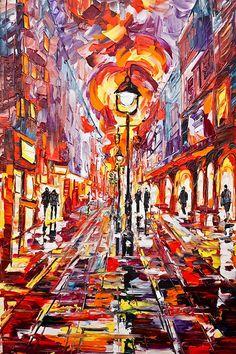 Night Boulevard in Belgrade Belgrade, Contemporary Decor, Original Paintings, Fine Art, Landscape, Abstract, Night, Gallery, Artist
