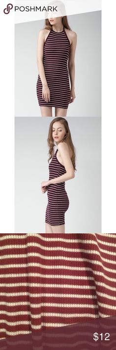 Maroon striped bodycon dress Maroon and white striped bodycon midi dress. Spaghetti strap tank top. Forever 21 size small. 62% Polyester 34% Rayon and 4% Spandex Forever 21 Dresses Midi