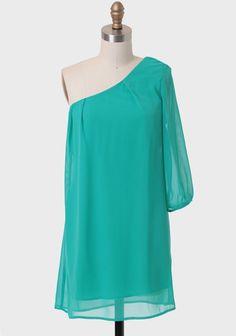 ShopRuche.com Spanish Coast One-shoulder Dress In Jade