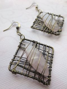 Square Wire Earrings with Rose Quartz Wire Jewelry by Kostimusha, $21.00