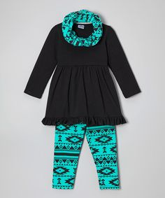 This Sew Cute Monograms Black & Teal Tunic Set - Infant, Toddler & Girls by Sew Cute Monograms is perfect! #zulilyfinds