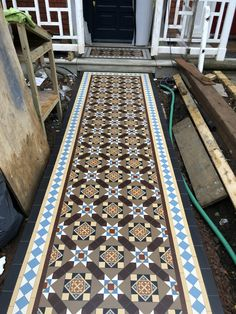 Victorian Tiles London specialist in installation and supply any reproduction Victorian mosaic floor tiles, Victorian geometric tiles in the London area Victorian Pattern, Victorian Tiles, Victorian House, Victorian Hallway, Small Front Gardens, Geometric Tiles, Tile Patterns, Pathways