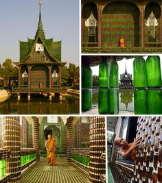 Okay, a Buddhist  temple made out of beer bottles isn't really the look I'm going for but I would love the exterior to be constructed of recycled materials. This website has some very cool new uses for old stuff: silos, beer cans, boats, etc.